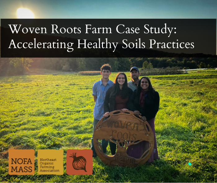 """A family of four stand behind a wooden sign that says """"Woven Roots Farm"""""""