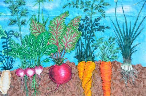 a painting of a variety of vegetables in the ground