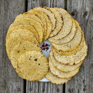 Round yellow tortillas placed in a spiral