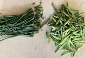 Garlic scape tips with blossom removed